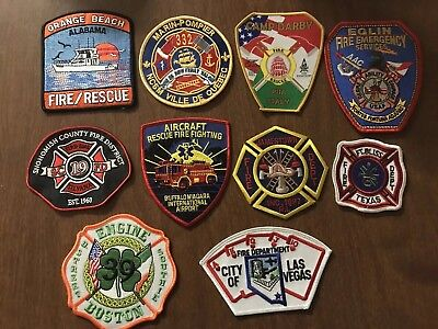 LOT OF 10 DIFFERENT FIRE/EMERGENCY PATCHES ( Lot 2)