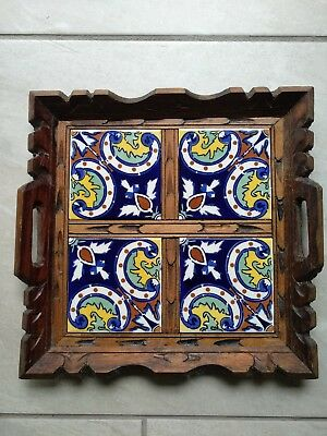 """DAL-TILE MEXICAN CERAMIC TILE FOOTED WOOD TRAY W/ HANDLES-13""""x 13"""" Vintage"""