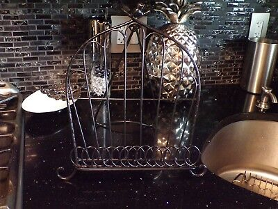 Iron Cookbook Stand Cook Book Holder Easel / bird on top