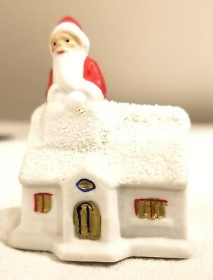 Miniature Bisque Santa in Chimney, on Top of House.  Early 1920s German Figure
