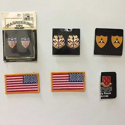Lot of US Army Military American Flag Patches Unit Crests Collectibles Brand New