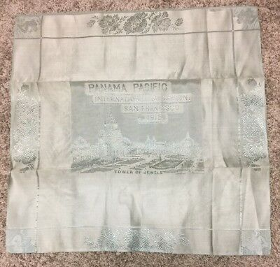 1915 Panama Pacific Expo Souvenir TOWER OF JEWELS Silk Pale Green Napkin