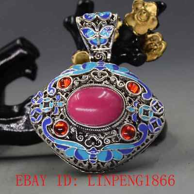 Chinese Handmade Copper Cloisonne Inlaid Jade & Zircon Pendant  L38-1