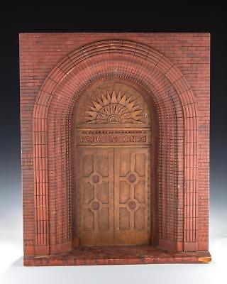 A HAND CARVED MODEL OF A SYNAGOGUE ENTRANCE. American, c. 1900. JUDAICA