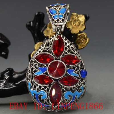 Chinese Handmade Copper Cloisonne Inlaid & Zircon Pendant L19