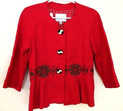 Women's Size 10 Madison Hill Cherry Red Embroidered Blazer Art Deco Buttons