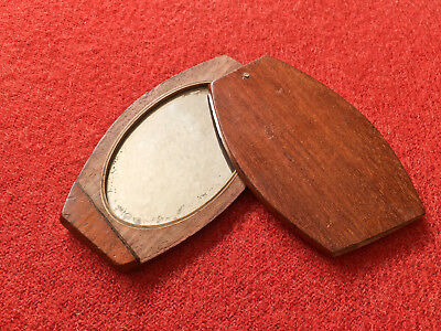 Original Antique Civil War Era Wood Folding Shaving Travel Mirror