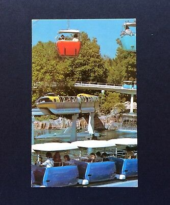 "DISNEYLAND Postcard  ""A World on the Move""  Yellow MONORAIL  PeopleMover  SKYWAY"