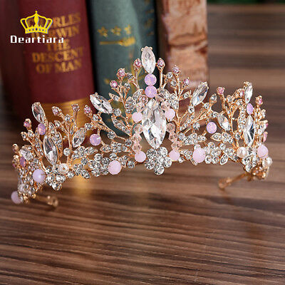 Deartiara Pink Crystal Leaf Tiara Prom Queen Diadem Wedding Head Bands