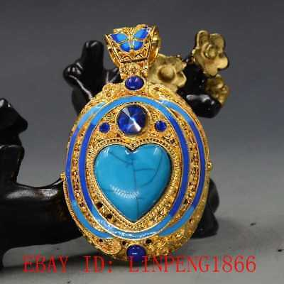 Chinese Brass Cloisonne Inlaid Turquoise & Zircon  Pendant L42
