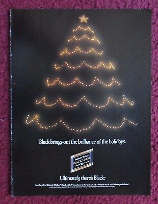 1992 Print Ad Johnnie Walker Whiskey ~ Black Brings Out Holiday Brilliance