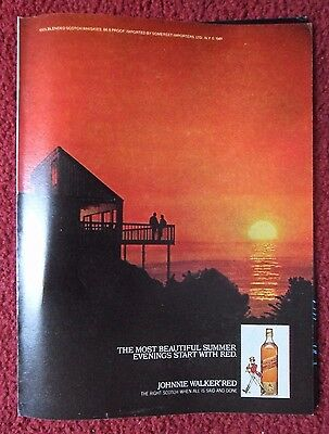 1982 Print Ad Johnnie Walker Red Label Whisky ~ Most Beautiful Summer Evenings