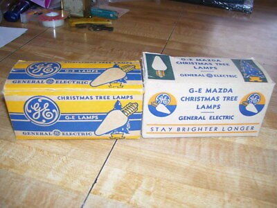 2 Boxes Antique G-E Mazda C6 Christmas Tree Lamps Lights Bulbs RARE