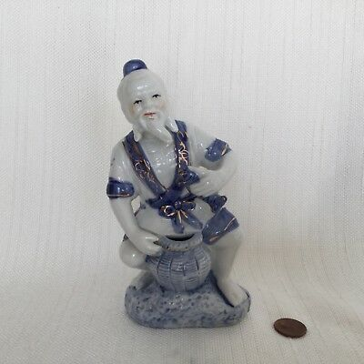 Vintage Blue & White Asian Chinese Oriental Porcelain Figurine Man Catching Fish