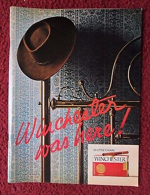 1973 Print Ad Winchester Little Cigars ~ Western Cowboy Hat Hanging On Bed Post