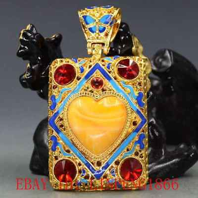Chinese Brass Cloisonne Inlaid Amber Beeswax & Zircon Pendant L01-1