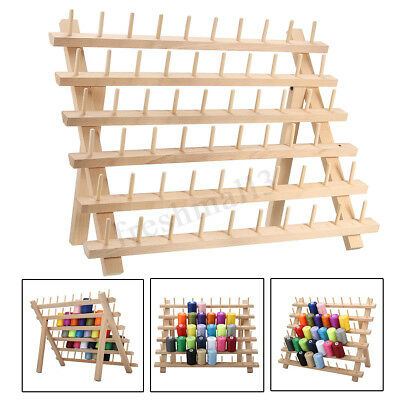 Premium Beechwood 60-Spool Sewing & Embroidery Cone Holder Thread Rack Stand US
