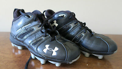 Under Armour Kids Youth Boys Base Ball Cleats Shoes Black White Size4.5Y