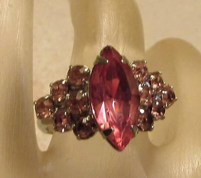 Vintage 70's Chunky Glass Crystal Rhinestone Cocktail Adjustable Ring Pink