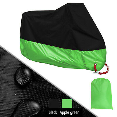 XXXL 190T Green Universal Motorcycle Cover Waterproof For Rain Dust UV Protector