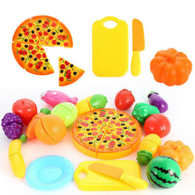 24 PCS/set Kids Cut Up Pretend Play Kitchen Toy Food Cutting Fruit Vegetable
