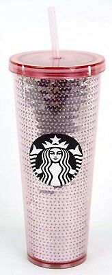 Starbucks Coffee 2017 Christmas Pink Sequin Venti 24oz Tumbler Cold Cup Sold Out
