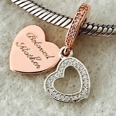 Authentic PANDORA Rose GOLD Plated/Silver HEARTS Dangle Charm