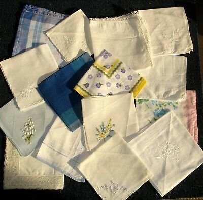 Job Lot 15 Cotton Ladies Handkerchiefs Assorted Lace Embroidered Printed