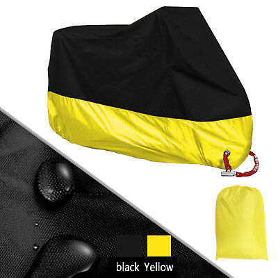 XXXL 190T Motorcycle Cover Black&Yellow Universal for Touring Cruiser Road Bikes