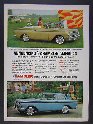 1962 Rambler American Convertible & Sedan color photos vintage print Ad