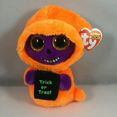 "2017 TY Beanie Boos 6"" Halloween SKELTON the Orange Ghoul Animal Plush MWMT's"