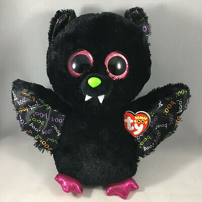 "TY Halloween Beanie Boos 9"" Medium DART the Bat Animal Plush MWMT's Heart Tags"