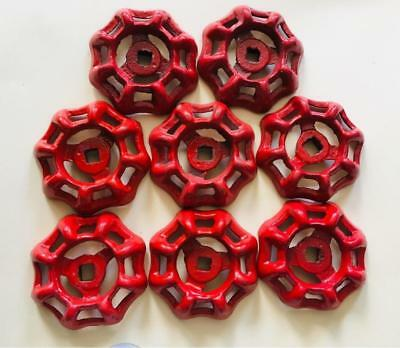 Lot of 8 Vtg RED Water Valve Handles Steampunk Distressed Farmhouse FREE Shpg