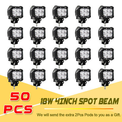 50x 4Inch LED Work Light Off Road Pods Spot Driving Light For Ford JEEP UTV 4WD