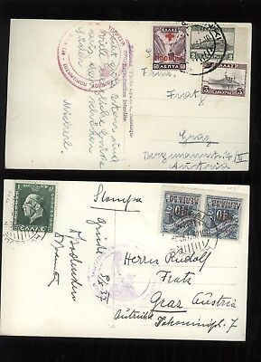 GRIECHENLAND - GREECE - HELLAS 2 ver old cards - nice franking
