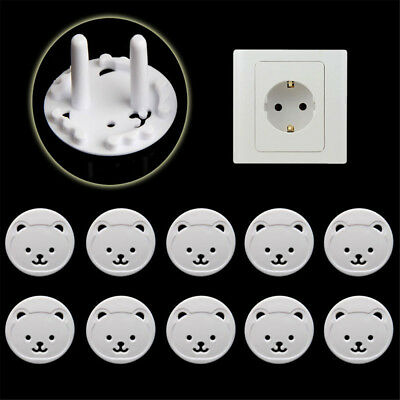 10 PCS EU Power Socket Covers Baby Child Kids Outlet Plug Bear Safety Protectors