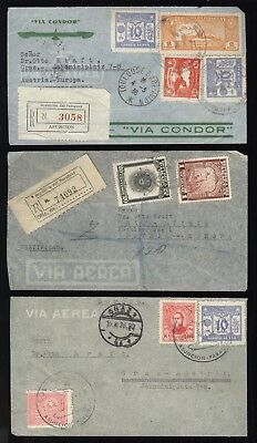 PARAGUAY 1936 / 3 airmail letters to Austria /  3 Flugpost Briefe - 2 mal Reko