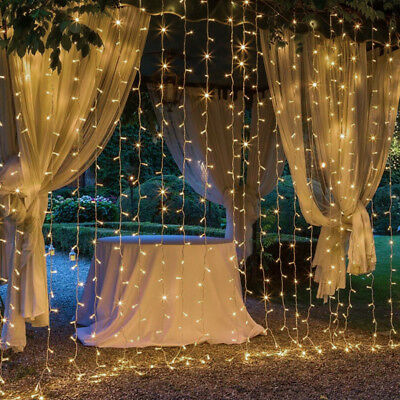 3M×3M LED Connectabl Wall Wedding Hanging Curtain String Fairy Lights Warm White