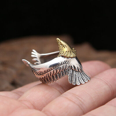 Adjustable Punk Eagle Bird Spread Wings Open Band Ring Jewelry Size 10 8C