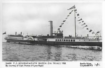 RP Shipping Postcard PS Bournemouth Queen 1908 Paddle Steamer Ship on Trials