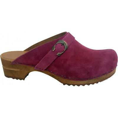Sanita Hedi Open Clog Damen Clogs Veloursleder Rasberry Pink