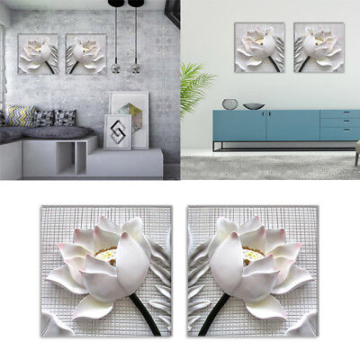 B9E1 Unframed Living Room Canvas Painting Beautiful Relief Lotus 2 Panels Bar