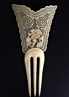 Fine Antique Chinese Carved Hair Comb Ornament, Bovine Bone, Qing 19Thc, Rare.