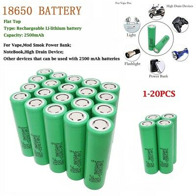 1/2/4/6/8pcs 18650 25R 2500mAh 3.7V Li-ion INR Batterie Rechargeable High Drain