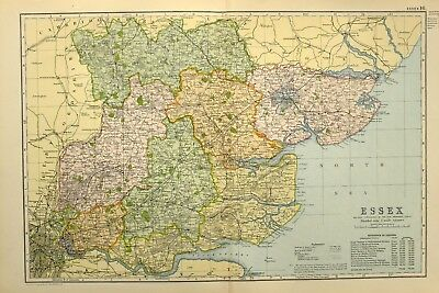 1895 Antique Map Essex Chelmsford Maldon Colchester Dunow Harlow Romford Barking