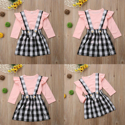Toddler Baby Kids Girl Strap Suspender Skirt Overalls Dress Outfit Clothes 0-5Y