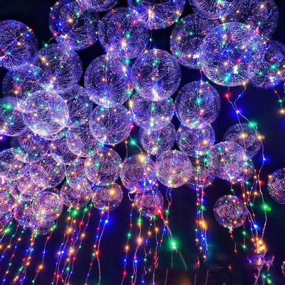 LED Light Bobo Balloon Clear Wedding Birthday helium Party Decor Lamp Wedding UK