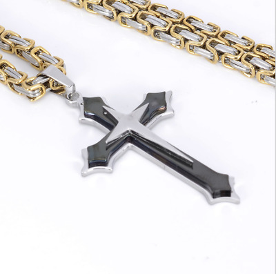 Stainless Steel Cross Pendant Gold Silver Black Necklace Byzantine Chain Black