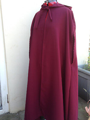 Wine Coloured Cloak With Rounded Hood and side slits like handmaids tale (cd38h)