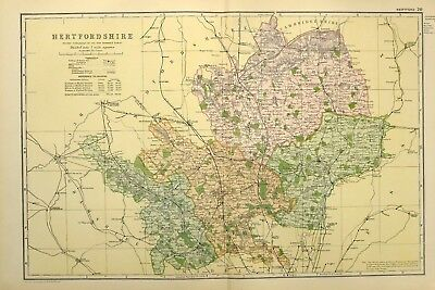 1895 Antique Map Hertfordshire Hatfield Stevenage Buntingford Hoddesdon Hitchin